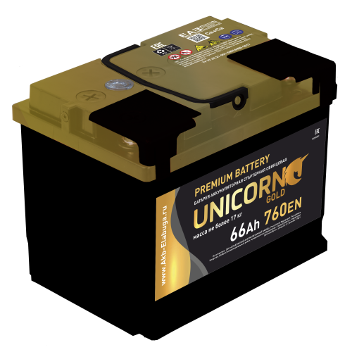 АКБ 6СТ- 66 «UNICORN GOLD» п.п.